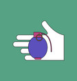 flat icon design collection frag grenade in hand vector image vector image