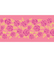 Flat roses and leaves seamless border pink