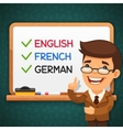 foreign languages teacher in front vector image vector image