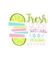 fresh juice 100 percent natural logo original vector image vector image