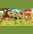 group kids playing game on a public park or vector image