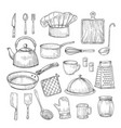 hand drawn cooking tools kitchen equipment vector image vector image