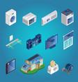 isometric smart home elements set vector image vector image