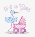 its a girl baby shower card vector image