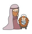 joseph with bajesus manger nativity merry vector image vector image
