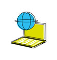 laptop computer with sphere browser vector image vector image