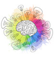 linear human brain with light bulbs and rainbow vector image vector image