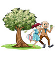 love couple and money on tree vector image vector image