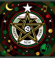 merry x-mas happy new year music star night vector image vector image
