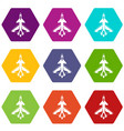 military fighter jet icon set color hexahedron vector image vector image