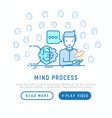 mind process concept with thin line icons vector image vector image