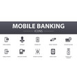 mobile banking simple concept icons set contains