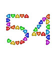 number 54 fifty four of colorful hearts on white vector image