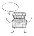 open treasure pirate chest cartoon character full vector image