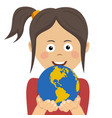peaceful young girl holding planet earth with care vector image vector image