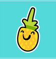 pineapple cartoon sticker vector image vector image