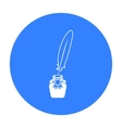 Quill in inkwell icon in black style isolated on vector image