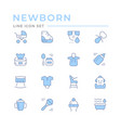 set color line icons newborn vector image