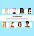 set female faces isolated on template vector image