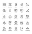 set of map and navigation line icons vector image