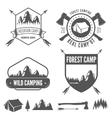 set of vintage mountains or forest camp badges vector image vector image