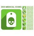 Skull Label Icon and Medical Longshadow Icon Set vector image vector image