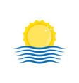 sun and wave icon vector image vector image