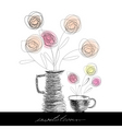 tea cup and teapot with flowers vector image