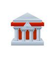 three dimensional bank building facade icon vector image