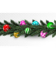 transparent christmas garland with colorful bauble vector image