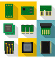types of chip icons set flat style vector image vector image