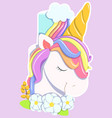 unicorn cake rainbow pastel colors flowers vector image