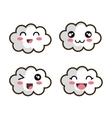 set cartoon face cloud design vector image