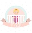 Cute baby girl Little baby in baby cot vector image