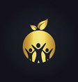 people group round vegan gold logo vector image