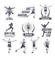 sport labels at marathon theme for sport teams vector image