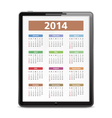 2014 Calendar in Tablet PC vector image vector image