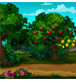 a garden with ripe fruit cartoon close-up vector image vector image