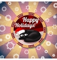 Badge with cute cat in santas hat and -Happy vector image vector image