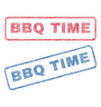 bbq time textile stamps vector image