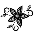 black and white floral pattern design element vector image vector image