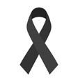 black mourning ribbon isolated on white background vector image vector image