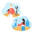 blogger recording media content using selfie stick vector image vector image