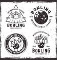 bowling set four vintage emblems or badges vector image vector image
