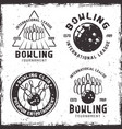 bowling set of four vintage emblems or badges vector image vector image