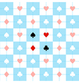 Card Suits Blue White Chess Board Background vector image vector image
