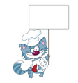 cat the cook with blank sign vector image vector image