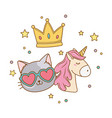 cat wit sunglasses unicorn and crown vector image