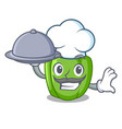 chef with food cartoon fresh green pepper in the vector image