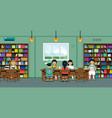 children in the library vector image